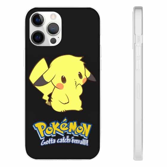 Adorable Pikachu Pokemon Black iPhone 12 Fitted Case