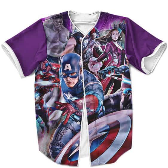 Avengers Age Of Ultron Superheroes Violet Baseball Jersey