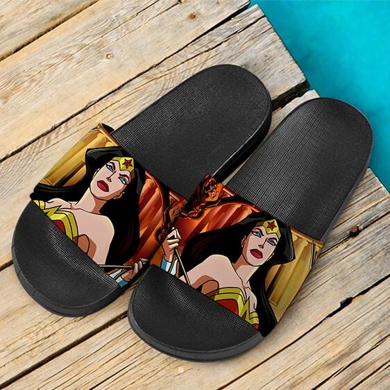 Awesome Wonder Woman Amazonian Race Portrait Slide Sandals