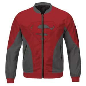 Man Of Steel Superman Logo Red And Gray Cool Letterman Jacket