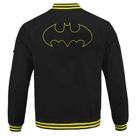 The Dark Knight Batman Classic Logo Black And Yellow Varsity Jacket