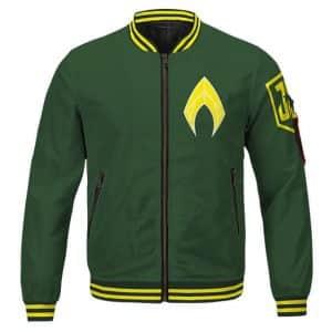Justice League Aquaman Arthur Curry Logo Green Bomber Jacket