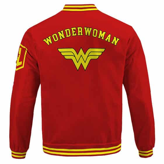 Wonder Woman Diana Prince Logo Minimalistic Red Letterman Jacket