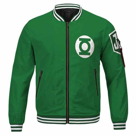 Justice League Green Lantern Hal Jordan Logo Green Bomber Jacket