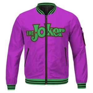 The Joker Prince Of Crime Cartoon Logo Cool Purple Bomber Jacket