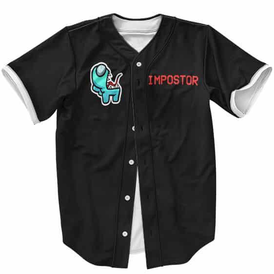 Imposter Cyan Among Us Minimalist Design Black Baseball Shirt