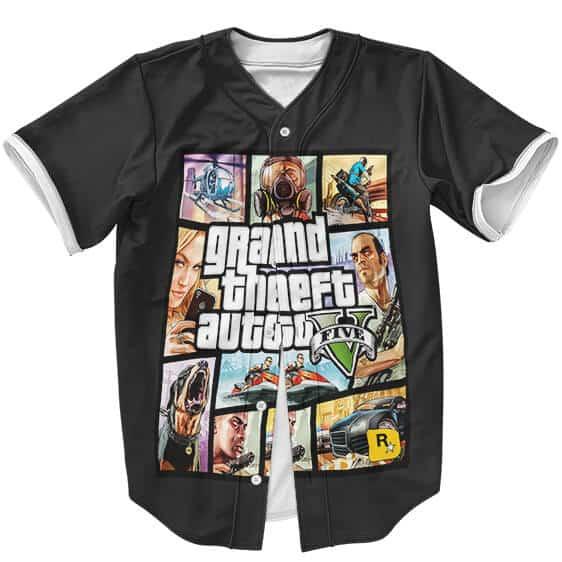 Grand Theft Auto V Classic Poster Artwork Black Baseball Jersey