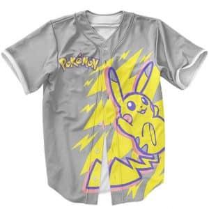 Pokemon The Electrifying Pikachu Awesome Gray Baseball Jersey