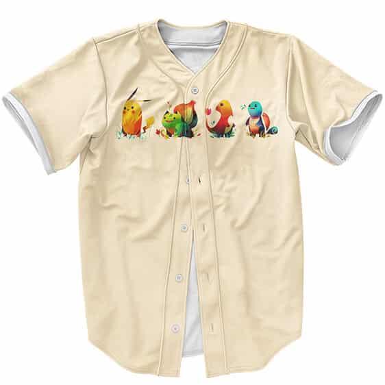 Pokemon Pikachu Charmander Bulbasaur Squirtle Art Baseball Shirt