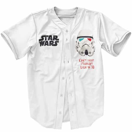 Star Wars Storm Trooper Can't Shoot Straight White Baseball Shirt
