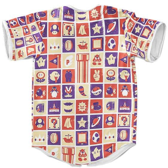 Super Mario Epic Power Up Icons Pattern Baseball Uniform