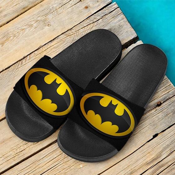DC Comics Iconic Batman Logo Black Yellow Slide Sandals
