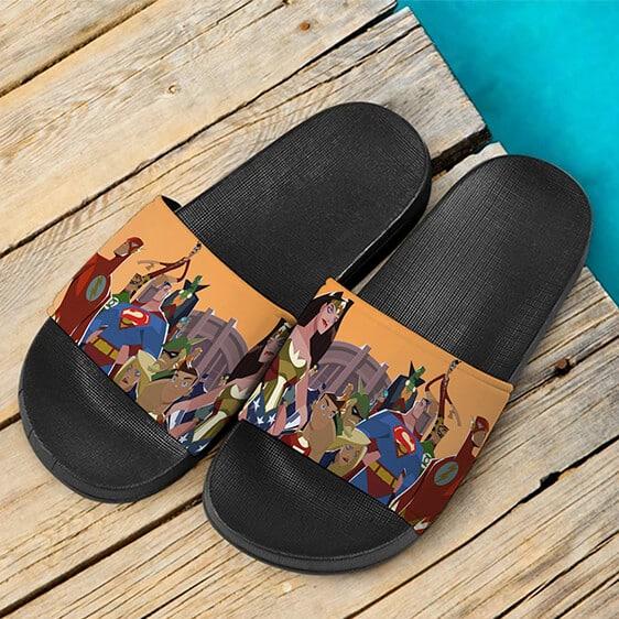 DC Comics Justice League Heroes Art Cool Slide Sandals