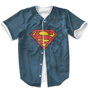 DC Comics Superman Iconic Emblem Blue Baseball Jersey