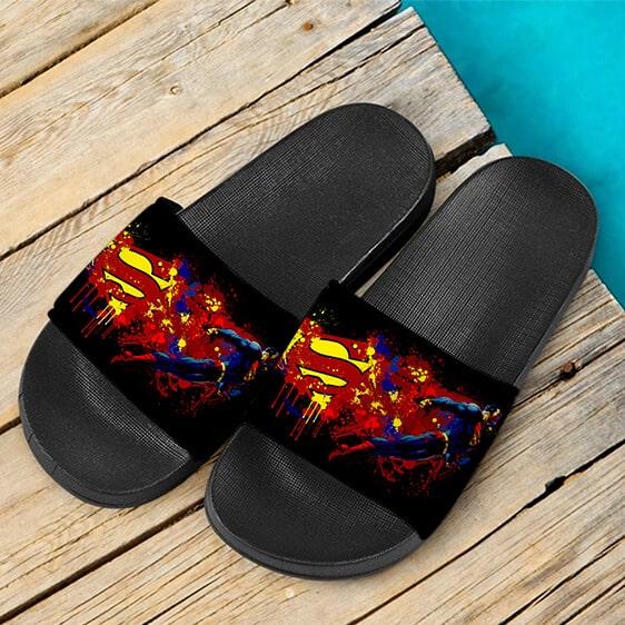 DC Comics Superman Paint Splash Art Unique Slide Sandals