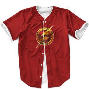 DC Comics The Flash Golden Lightning Logo Red Baseball Shirt