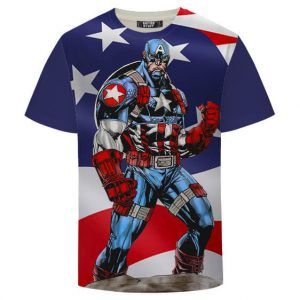 First Avenger Captain America Cool Hero Navy Blue T-Shirt