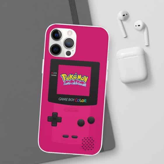 Game Boy Pokemon Neon Pink Vibrant iPhone 12 Fitted Case