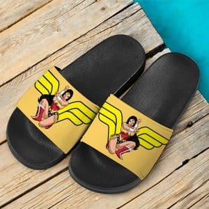 Gorgeous Wonder Woman Cartoon Illustration Slide Sandals