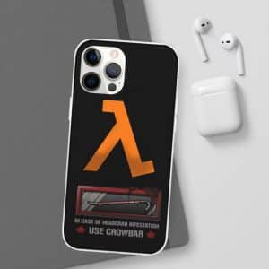 Half-Life Game Logo Crowbar Black iPhone 12 Fitted Cover