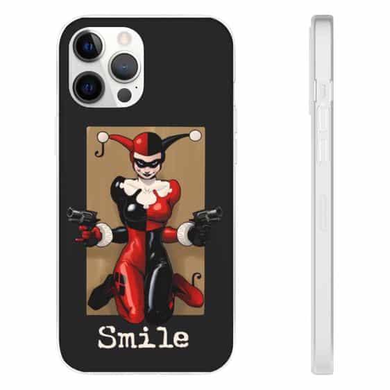 Harley Quinn Clown Costume Smile Dark Gray iPhone 12 Case