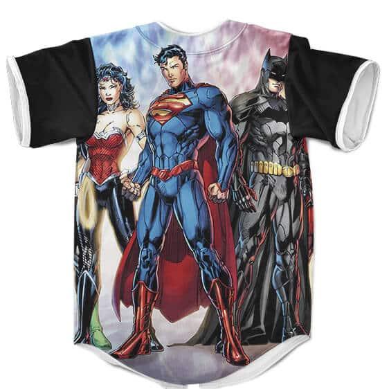Justice League Superman Batman Wonder Woman Baseball Jersey