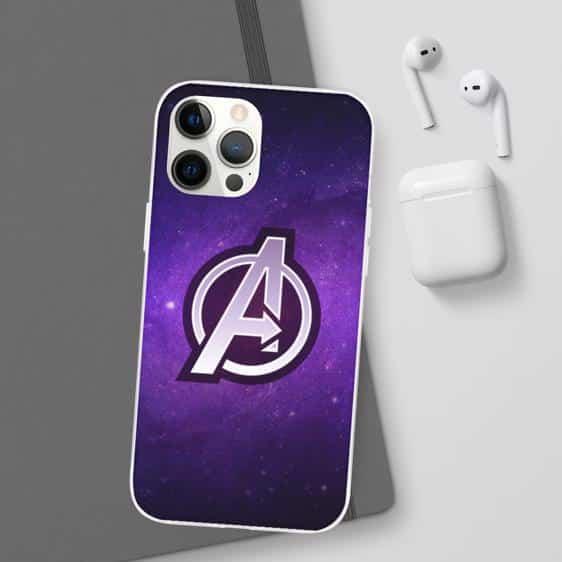 MCU Avengers Logo Purple Galaxy iPhone 12 Fitted Case