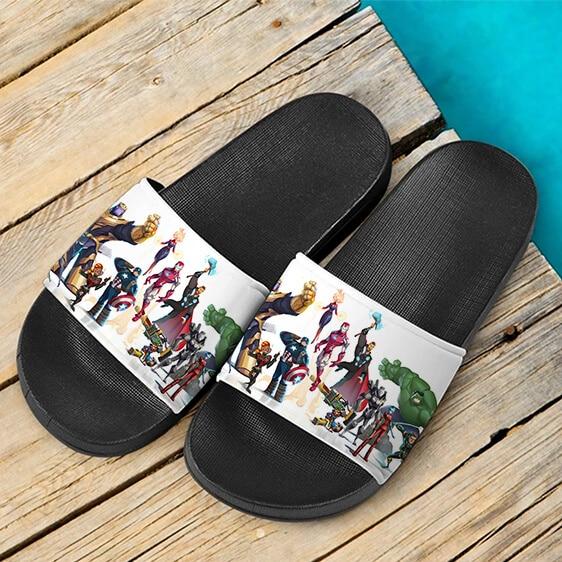 Marvel Avengers Endgame Characters Fan Art Slide Sandals