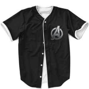 Marvel Avengers Logo Minimalist Black Baseball Jersey