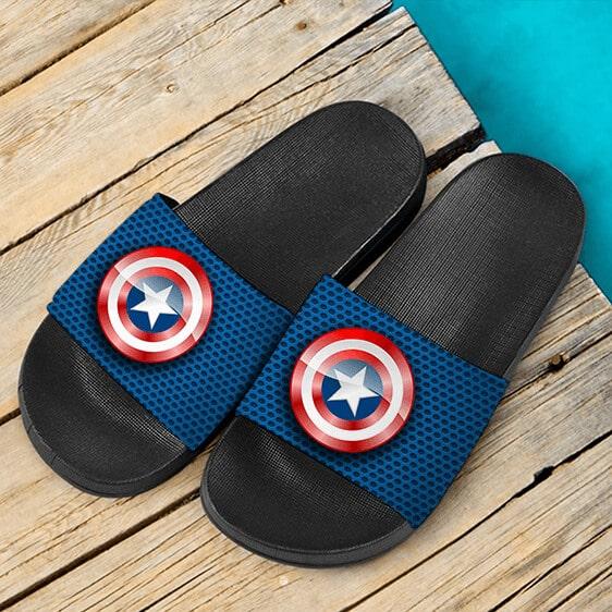 Marvel Captain America Iconic Shield Blue Slide Sandals