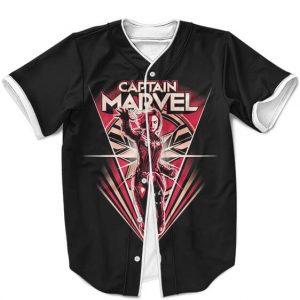 Marvel Comics Captain Marvel Minimalist Black Baseball Shirt