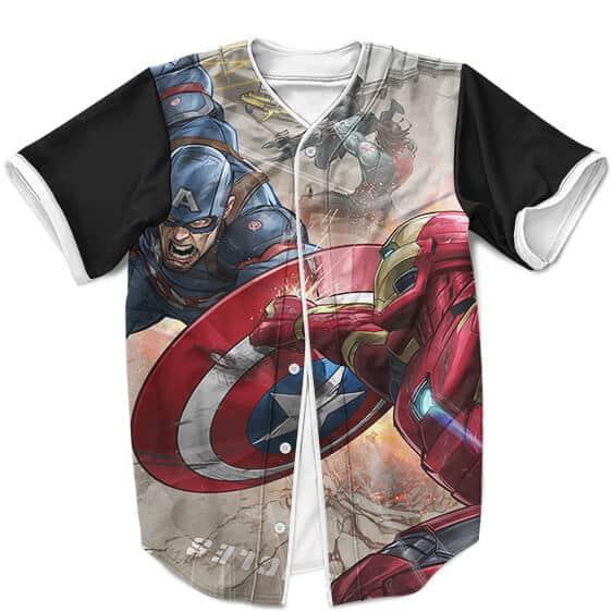 Marvel Comics Civil War Iron Man Vs Captain America MLB Shirt