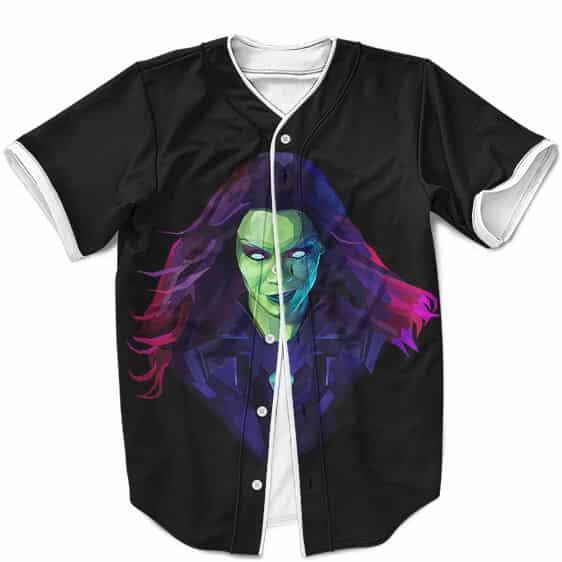 Marvel Comics Gamora Gorgeous Art Black Baseball Uniform