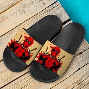 Marvel Comics Mercenary Deadpool Paint Splash Slide Sandals