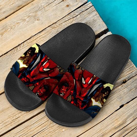 Marvel Comics Spider-Man Red Hulk & Spider-Girl Slide Sandals