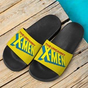 Marvel Comics The Uncanny X-Men Logo Yellow Slide Sandals
