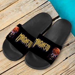 Marvel Comics X-Men Magneto Artwork Black Slide Sandals