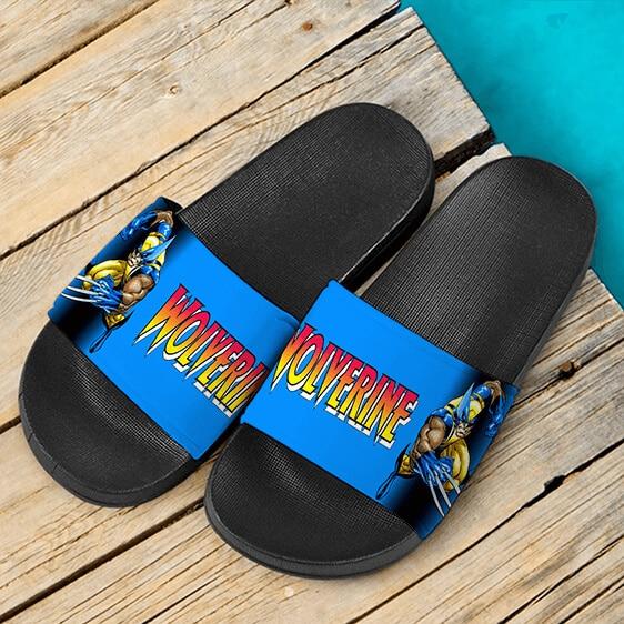 Marvel Comics X-Men Wolverine Cool Blue Slide Sandals