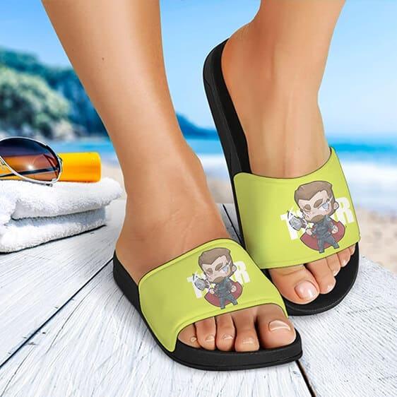 Marvel Endgame Thor Chibi Artwork Unique Slide Sandals