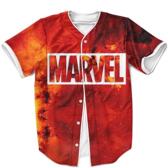 Marvel Iconic Logo Fiery Red Flame Art Dope MLB Uniform