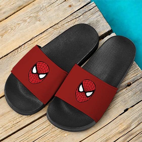 Marvel Spider-Man Head Minimalist Art Red Slide Sandals