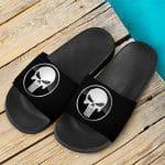 Marvel The Punisher Badass Skull Logo Black Slide Sandals