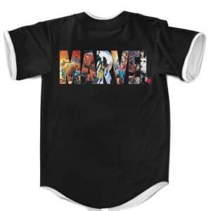 Marvel Universe Superheroes Assemble Black MLB Baseball Shirt