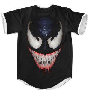 Marvel Venom Symbiote Creepy Smile Black Baseball Uniform