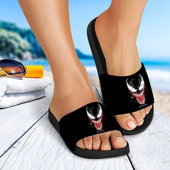 Marvel Venom Symbiote Head Minimalist Black Slide Sandals