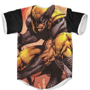 Marvel X-Men Wolverine Fighting Stance Badass Baseball Shirt