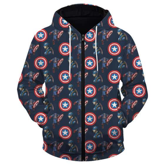 Marvel's Captain America Pattern Electrifying Navy Blue Zip Up Hoodie