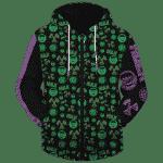 Marvel's The Incredible Hulk Patterns Green Purple Cool Zip Up Hoodie