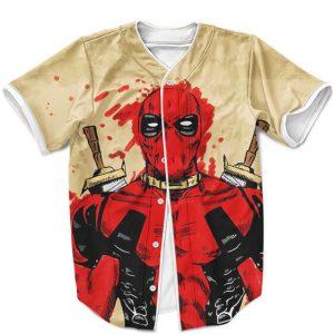 Mercenary Deadpool Blood Splash Painting Baseball Shirt
