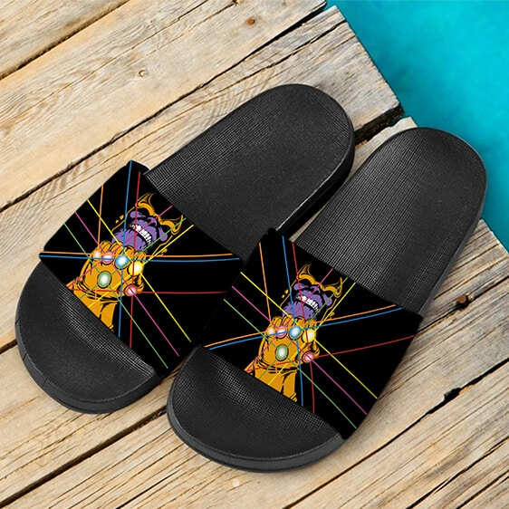 Powerful Thanos With Infinity Gauntlet Black Slide Sandals